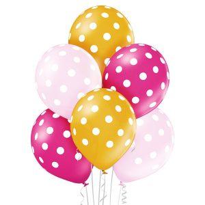 Balon jasno różowe fuksja i złoty w białe grochy