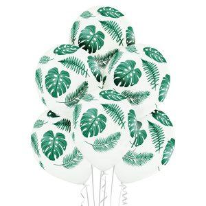Baloniki białe z motywem florystycznym monstera paprocie