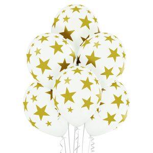 Balony białe lateksowe latające w złote gwiazdy