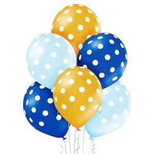 Balony niebieskie błękitne i złote w białe grochy