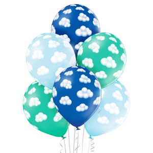 Baloniki z helem z nadrukiem w chmurki niebieskie dla chłopca