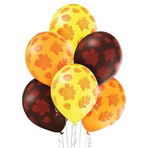 Balony z helem w liście klonu i dębu jesień