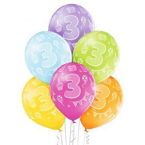 Kolorowe balony z helem na 3 urodziny dziecka Warszawa
