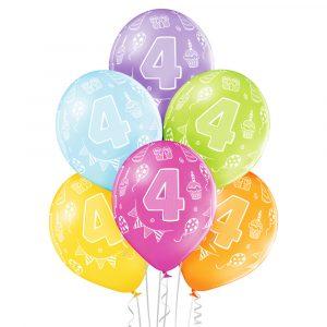 Balony z helem na 4 urodziny dla dziecka z dostawą lub odbiorem w Warszawie
