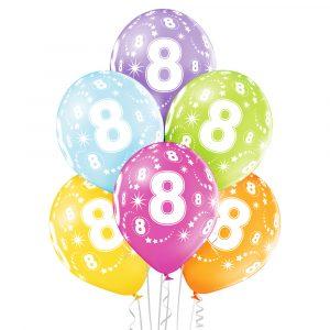 Kolorowe balony na 8 urodziny dziecka z helem