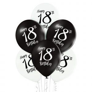 Balony na osiemnastkę biało czarne