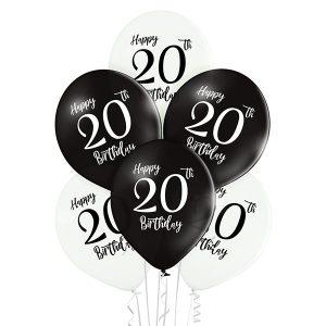 Balony z helem na dwudzieste urodziny z liczbą