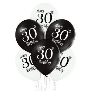 Baloniki lateksowe z cyframi 3 i 0 na 30 urodziny