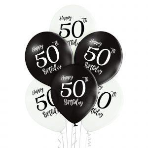 Balony czarne i białe z liczbą 50 na urodziny z helem lub na powietrze