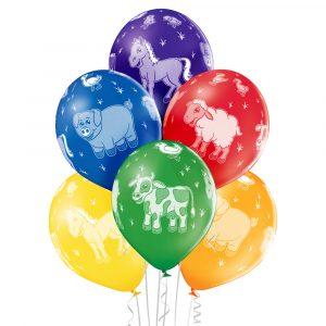 Kolorowe balony z helem koń krowa świnka baran Balon latjący na hel