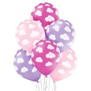Balon z nadrukiem w chmurki Baby shower 6 sztuk