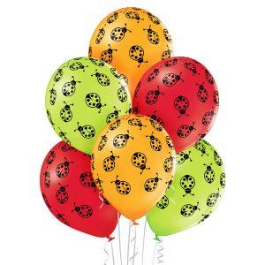 Balony lateksowe żółte czerwone i zielone w biedronki