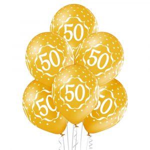 Balony złote z białym nadrukiem na 50 urodziny