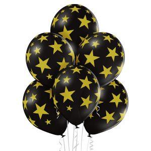 Balony czarne w złote gwiazdki to często zamawiany bukiet z helem na urodziny