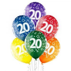 Balony helowe na 20 urodziny