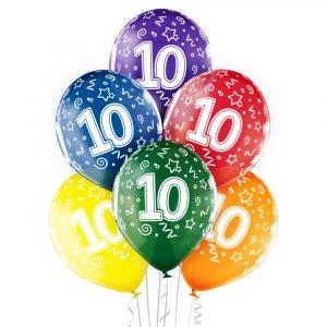Kolorowe balony na 10 urodziny