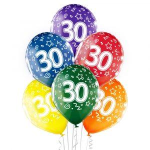Balony lateksowe kolorowe na 30 trzydzieste urodziny