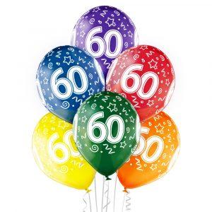 Kolorowe balony lateksowe na 60 urodziny