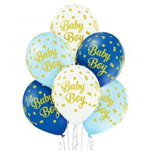 Białe i niebieskie baloniki lateksowe na Baby shower syn