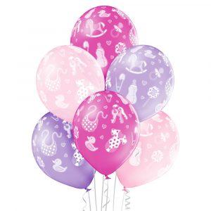 Balony z helem na Baby Shower Bociankowe dla dziewczynki