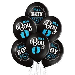 Czarne balony na Baby Shower narodziny chłopca syna