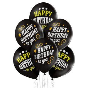 Czarne balony urodzinowe z napisem Happy Birthday to you