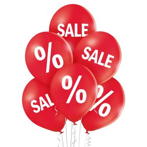 Balony z nadrukiem napisem SALE % na wyprzedarze w sklepie