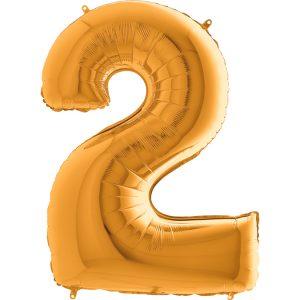 Balon z helem cyferka 2 na drugie urodziny