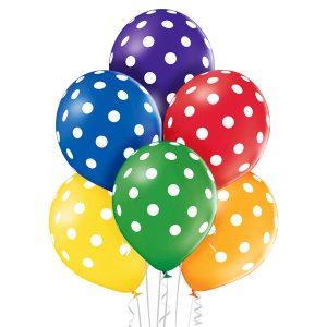 Kolorowe balony lateksowe z helem w białe grochy