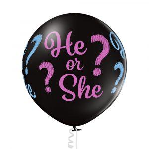 Balon czarny do napełnienia konfetti różowym albo niebieskim