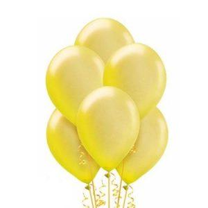 Żółte balony eko lateksowe metalizowane