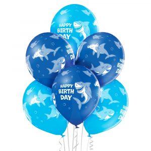 Balony z helem niebieskie z nadrukowanymi rekinami dla chłopca przyjęcie urodzinowe dekoracja
