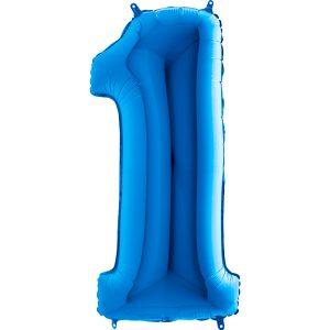 K0091. Balon foliowy niebieski w kształcie cyfry 1 na roczek pierwsze urodziny