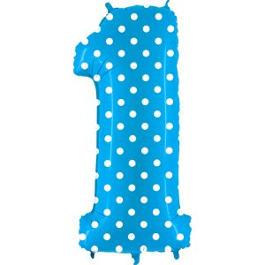 Balon cyfra literka 1 niebieska w białe grochy dla chłopca na roczek pierwsze urodziny