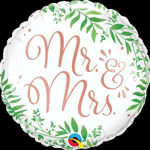 Białe balony z helem na Wesele z napisem Mr & Mrs