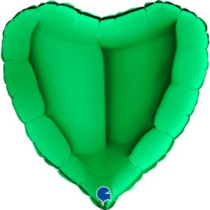 Zielony balon foliowy z helem w kształcie serca