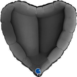 Balon z helem serce czarne
