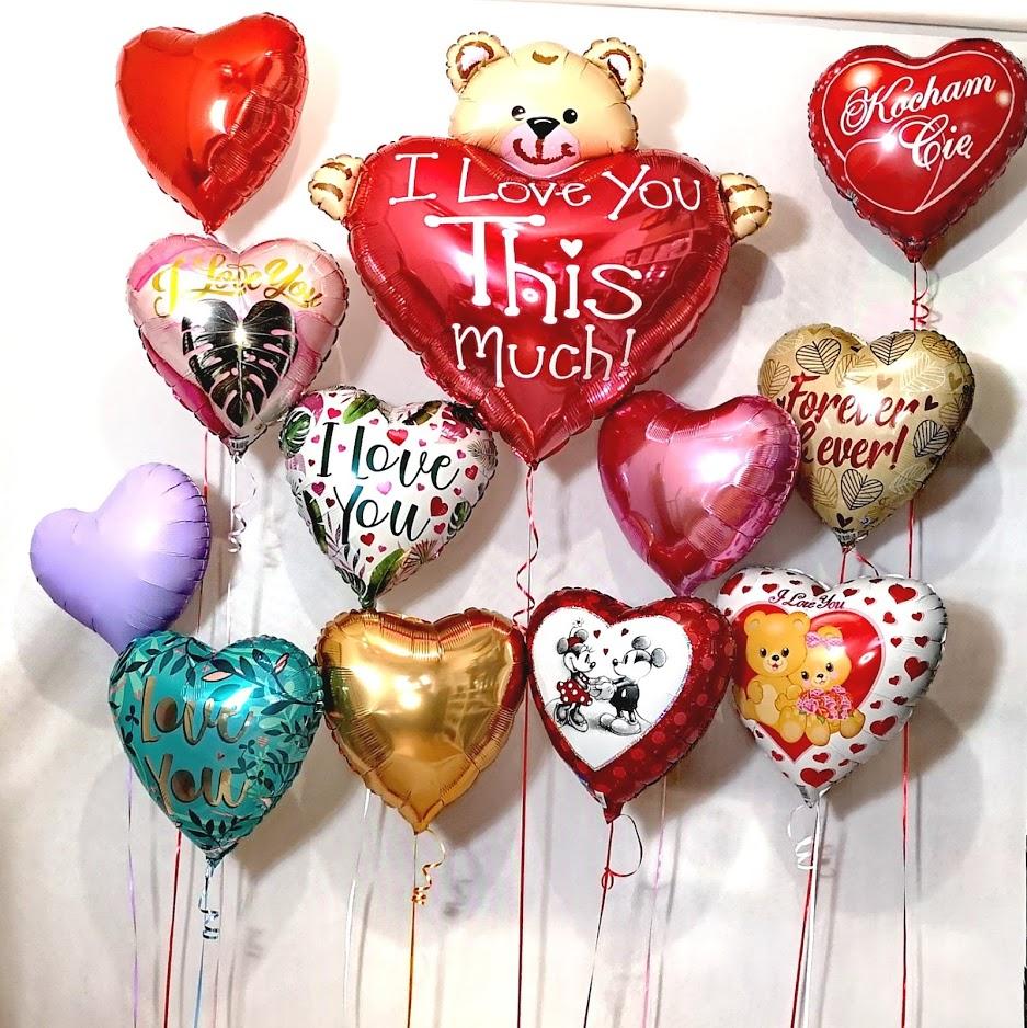 Balony w kształcie serc na Walentynki weselem zaręczyny, oświadczyny dla ukochanej osobt
