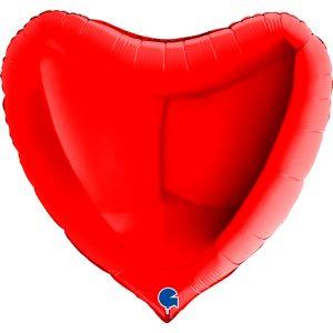 Czerwony balon z helem w kształcie serca - foliowy